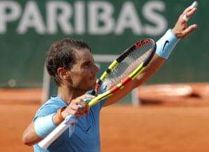 Nadal waves after defeating Pella.