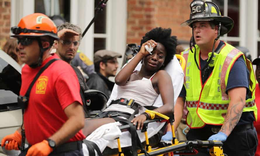 A car ploughed into counter-demonstrators following the shutdown after clashes near Lee Park, where a statue of Robert E Lee was slated to be removed.