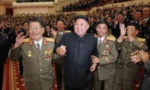 Kim Jong-un at the banquet thrown to celebrate North Korea's latest nuclear test