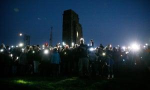 The torchlight procession up to Eston Nab