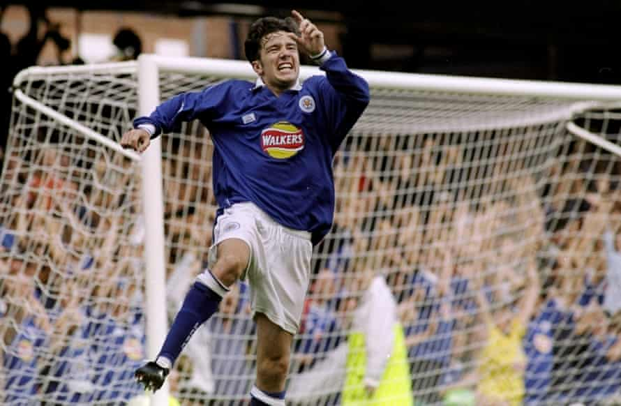 Muzzy Izzet elebrating scoring for Leicester City against Chelsea in 1999