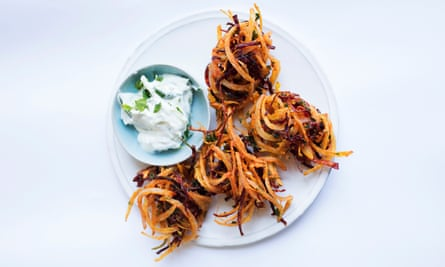 Rooting for you: beetroot fritters.