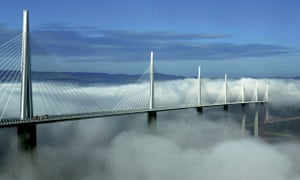 The Millau viaduct rises above the clouds in France.