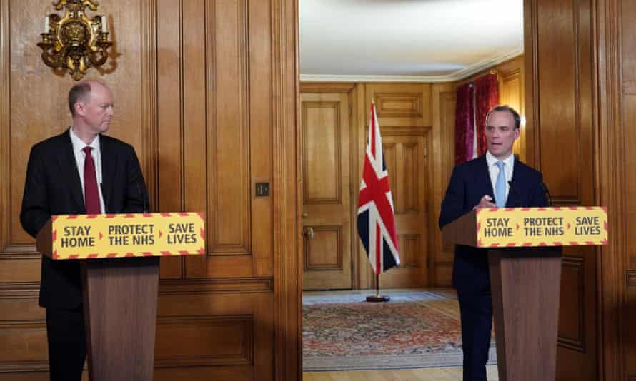 Foreign secretary, Dominic Raab, and Chief Medical Officer, Professor Chris Witty hold a press conference about the coronavirus outbreak.