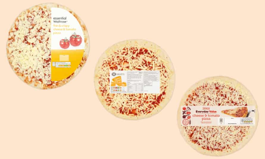 cheese and tomato pizzas