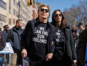 Former Beatle Sir Paul McCartney joins the rally in New York