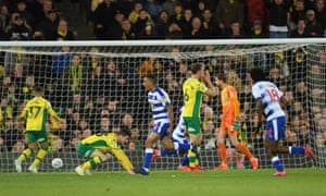 Andy Rinomhota of Reading celebrates his goal seven minutes into stoppage time as they drew at Norwich.