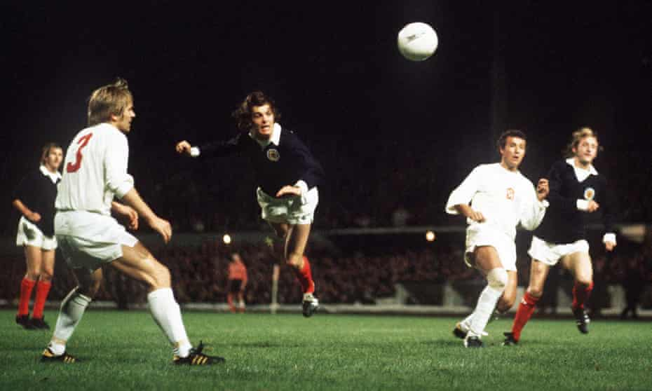 Joe Jordan heads home against Czechoslovakia on 26 September 1973 to send Scotland to the 1974 World Cup