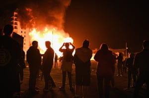 People gather at the Sandy Row bonfire