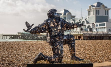 Soldiers of Sacrifice, a new sculpture incorporating4,413 replica bullets at Peace Garden outside the D-Day Story museum, Portsmouth