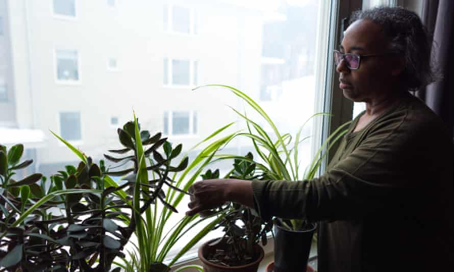 A grey haired woman tending to her indoor plants.