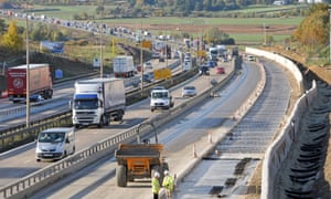 Carriageway widening on the M25.