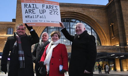 Manuel Cortes, the general secretary of the Transport Salaried Staffs' Association, joins Labour politicians Emily Thornberry and Andrew McDonald to protest against the increase in rail fares outside King's Cross station in London.