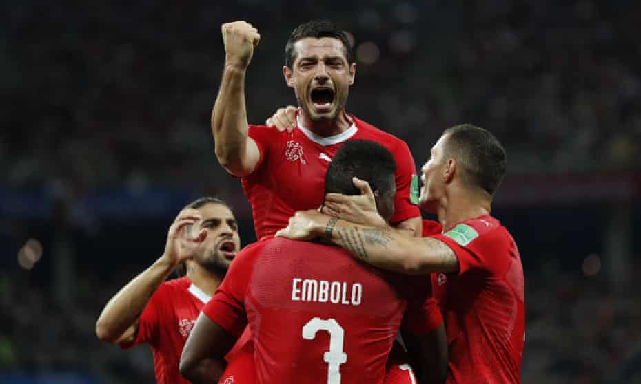 Blerim Dzemaili celebrates after scoring the opener in the 2-2 draw against Costa Rica at the Nizhny Novgorod Stadium as Switzerland advanced to the last 16 of the World Cup.