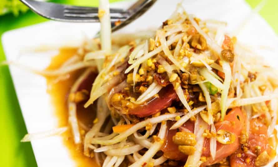 Papaya Salad in Bangkok, Thailand.