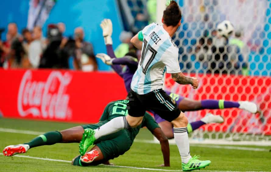 Lionel Messi opens the scoring for Argentina in St Petersburg