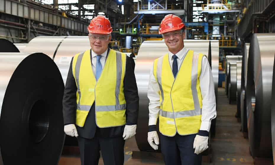 Prime Minister Scott Morrison (left) and Minister for Energy and Emissions Reduction Angus Taylor (right) during a visit to BlueScope Steel in Port Kembla, Wollongong, NSW, September 17, 2020.