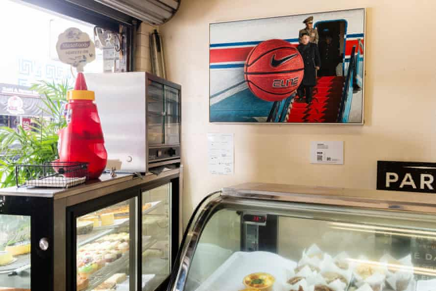 San Cranstoun's painting Power Structures 7 hangs at West End Bakery as part of the Trace exhibition