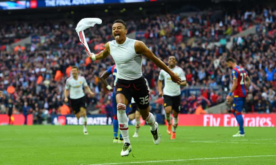 Jesse Lingard celebrates his goal in the 2016 FA Cup final