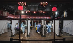 General view of the Sala Apolo, where antigen tests for Covid-19 are carried out to the public before attending a concert by the Love of Lesbian music band at Palau Sant Jordi on March 27, 2021 in Barcelona, Spain.