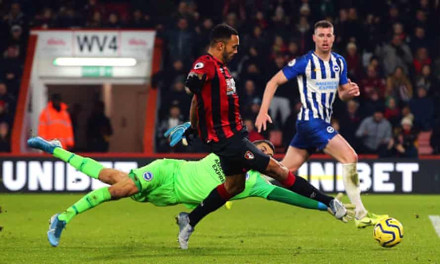 Bournemouth's Callum Wilson scores his side's third goal against Brighton at the Vitality Stadium.