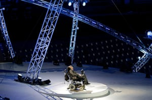 Stephen Hawking speaks during the Opening Ceremony for the 2012 Paralympics in London