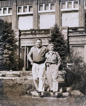 Ernest and Mary Hemingway, his fourth wife, outside their Sun Valley, Idaho, lodge in 1947