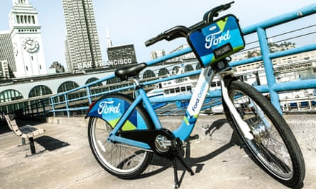 A Ford GoBike, part of the bike-sharing scheme, in downtown San Francisco.