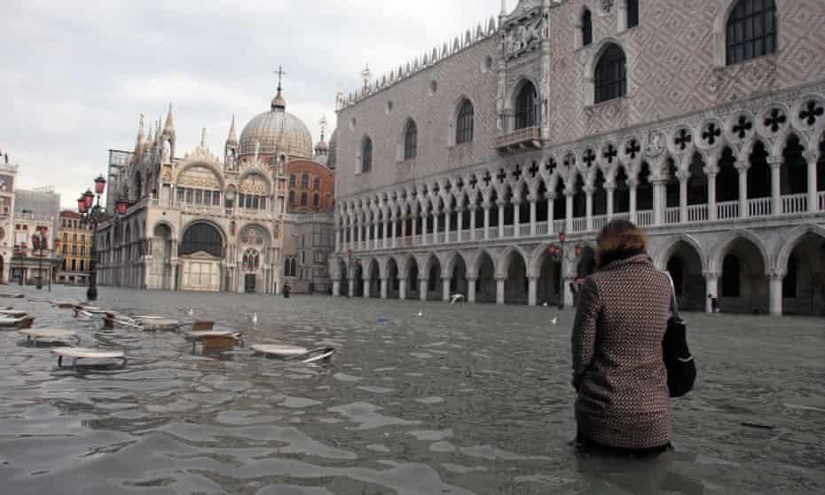 The Piazza San Marco, Venice's lowest point, now floods around 100 times a year.