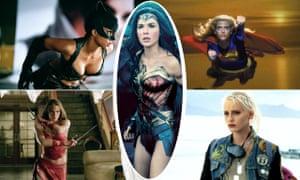 Wonder women ... Gal Gadot in Wonder Woman, surrounded by Halle Berry in Catwoman, Helen Slater in Supergirl, Lori Petty in Tank Girl and Jennifer Garner in Elektra.