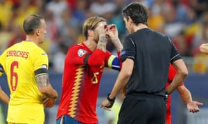 Spain's captain Sergio Ramos celebrates after opening the scoring.