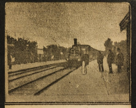 A train arriving at a station in one of the flipbooks