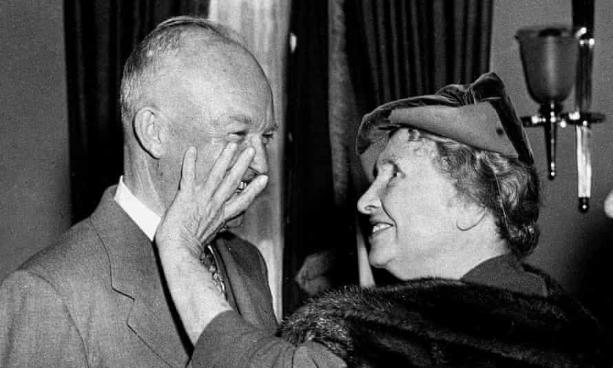 Helen Keller meets president Eisenhower on a visit to the White House on 3 November 1953.