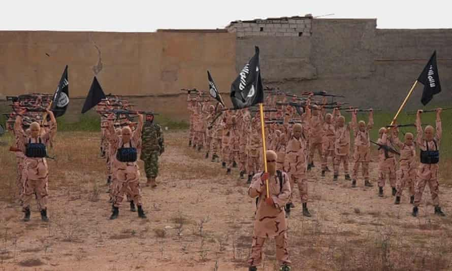 An image reportedly of an Isis training camp near Mosul, northern Iraq in 2015.
