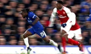 Victor Moses of Chelsea breaks with the ball.