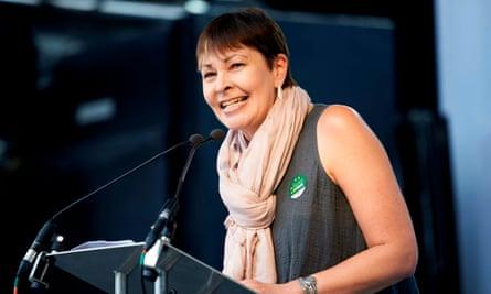 Caroline Lucas speaking during the anti-Brexit demonstration in London.
