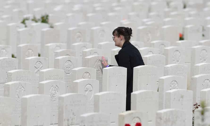 A woman among the gravestones at Tyne Cot.