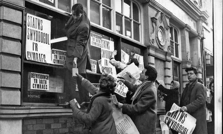 Photograph of the first Welsh language protest