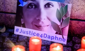 A vigil on the first anniversary of the murder of anti-corruption journalist Daphne Caruana Galizia.