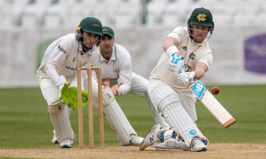 Nottinghamshire's Tom Moores reverse sweeps during day two of the pre-season game between Notts and Leicestershire at Trent Bridge