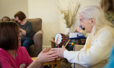 Lynda Kelly works with dementia patients at Acacia Lodge Care Home in Greater Manchester