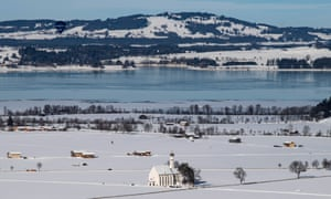 The pilgrimage church of St Coloman stands in the snow near Schwangau in Bavaria, Germany