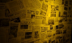 A montage of newspaper reports on the 1968 killings.
