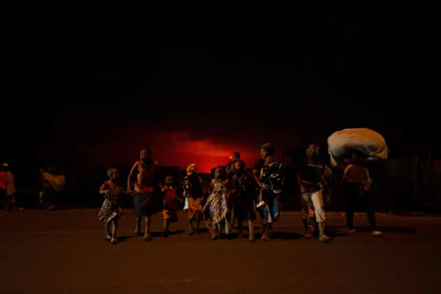 Goma residents leave the city after the eruption of the Nyiragongo volcano on May 22.