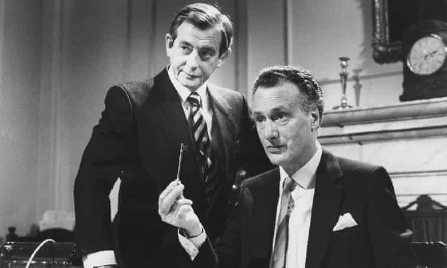 Derek Fowlds, left, as Bernard Woolley, and Paul Eddington as Jim Hacker in a 1985 episode of Yes Minister.