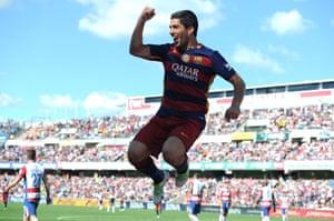 Luis Suarez celebrates the second.