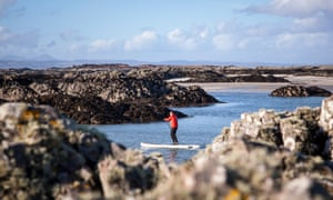 Straight-up guy: Daniel Neilson paddles through the skerries off the Small Isles.