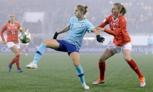 Vivianne Miedema playing for Holland against Switzerland in the qualifying play-off for the World Cup.