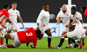 Kyle Sinckler tries to get over the gain line for England, who put in a mixed performance against Tonga.