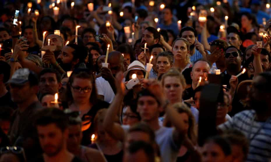 People gathered in Orlando on Monday night to remember the victims of the Pulse massacre.